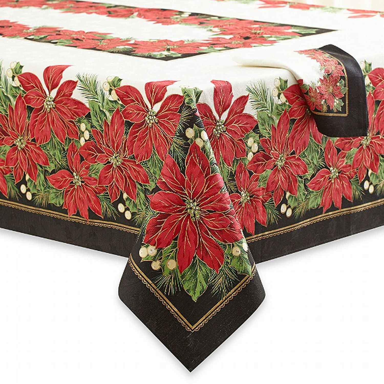 60 x 102 Winter Wonderland Vinyl Tablecloth Flannel Backed Snowman Merry Christmas Poinsettia Wreath Design