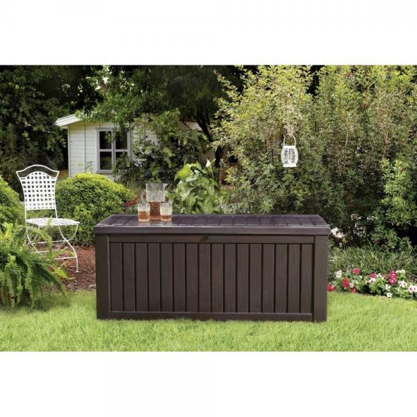 Beautiful Wood Look Design Deck Box Provides the Perfect Outdoor Storage Solution 150... by