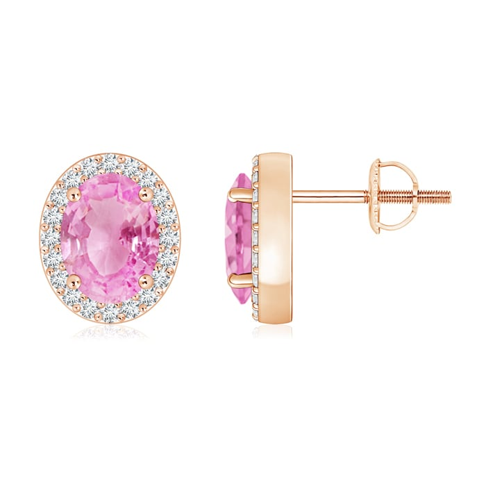 Angara 3 Prong Pink Tourmaline Stud Earrings in Rose Gold 013Ascqo