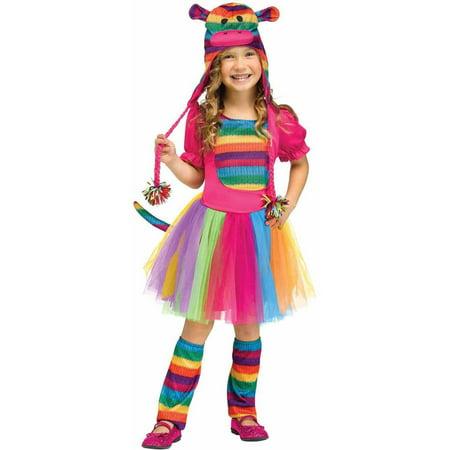 Rainbow Sock Monkey Girls Toddler Cute Toy Halloween - Sock Monkey Halloween Makeup