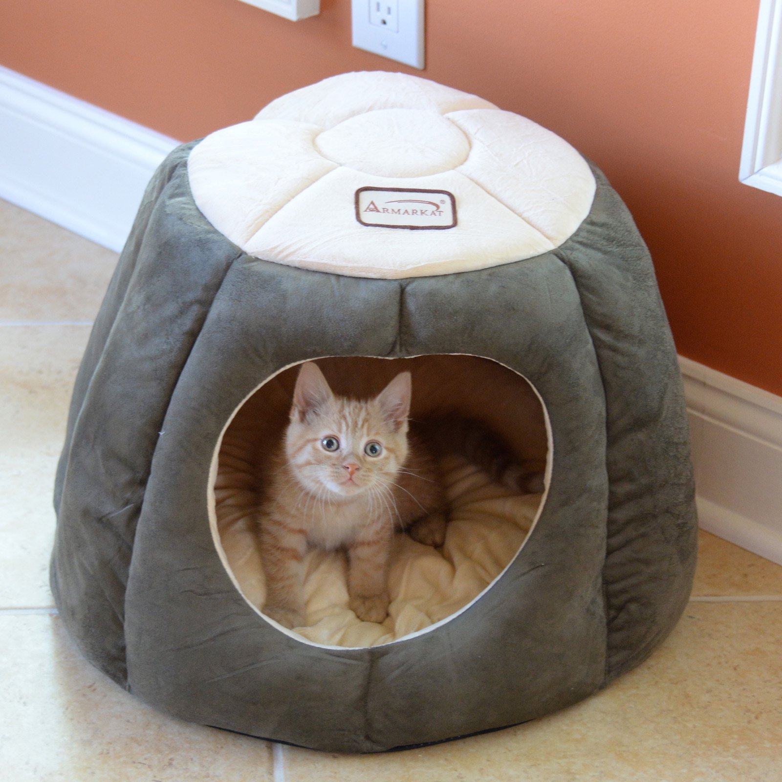 Armarkat Cat Bed, Laurel Green and Beige, C30HML/MH
