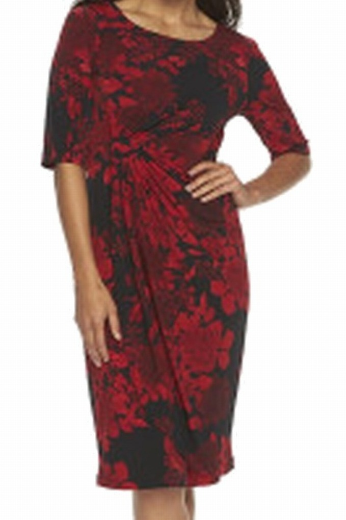 d62bad2c Connected Apparel - Connected Apparel NEW Red Black Womens Size 16 Floral-Print  Sheath Dress - Walmart.com