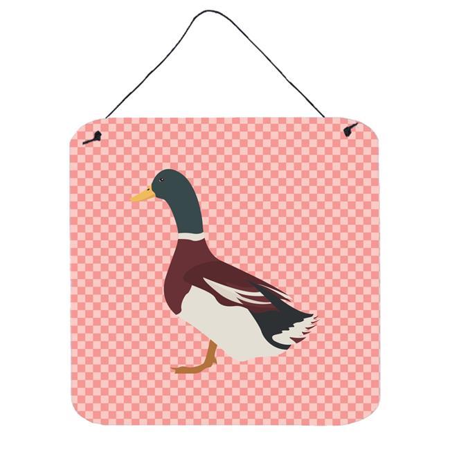 Rouen Duck Pink Check Wall or Door Hanging Prints, 6 x 6 in. - image 1 de 1