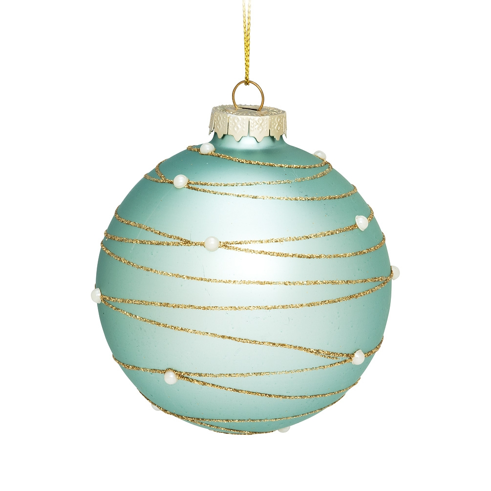 Abbott Christmas Ornament Ball - Pearl, Turquoise & Gold - image 1 of 1