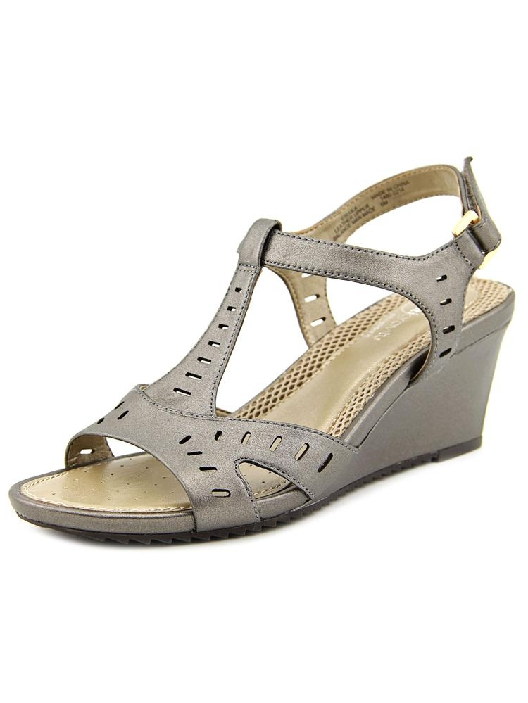 Antigravity By Easy Spirit Lula W Open Toe Leather Wedge Sandal by Antigravity By Easy Spirit