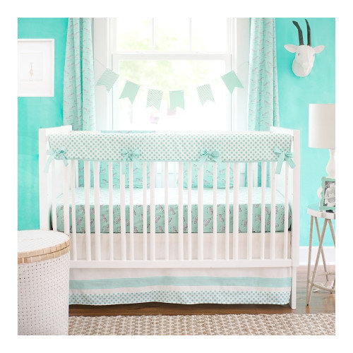 New Arrivals 2 Piece Crib Bed Set, Zebra Parade in Mint