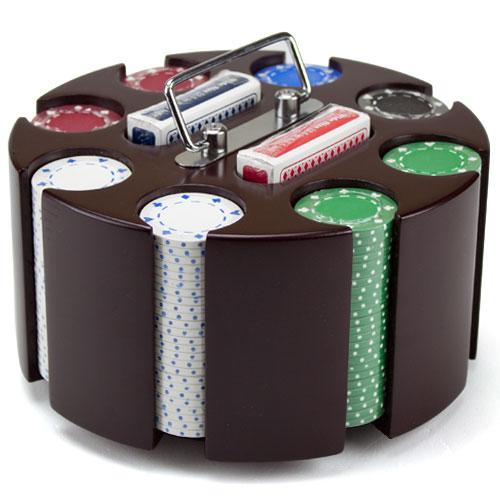Click here to buy 11.5 Gram Suited Poker Chip Set in Wooden Carousel Case by BryBelly.