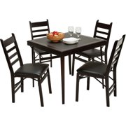 Cosco 5-Piece Wood Folding Dining Set with Ladder Back Chairs, Espresso/Black
