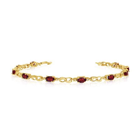 Yellow Gold Garnet Bracelet (10K Yellow Gold Oval Garnet and Diamond Link Bracelet )