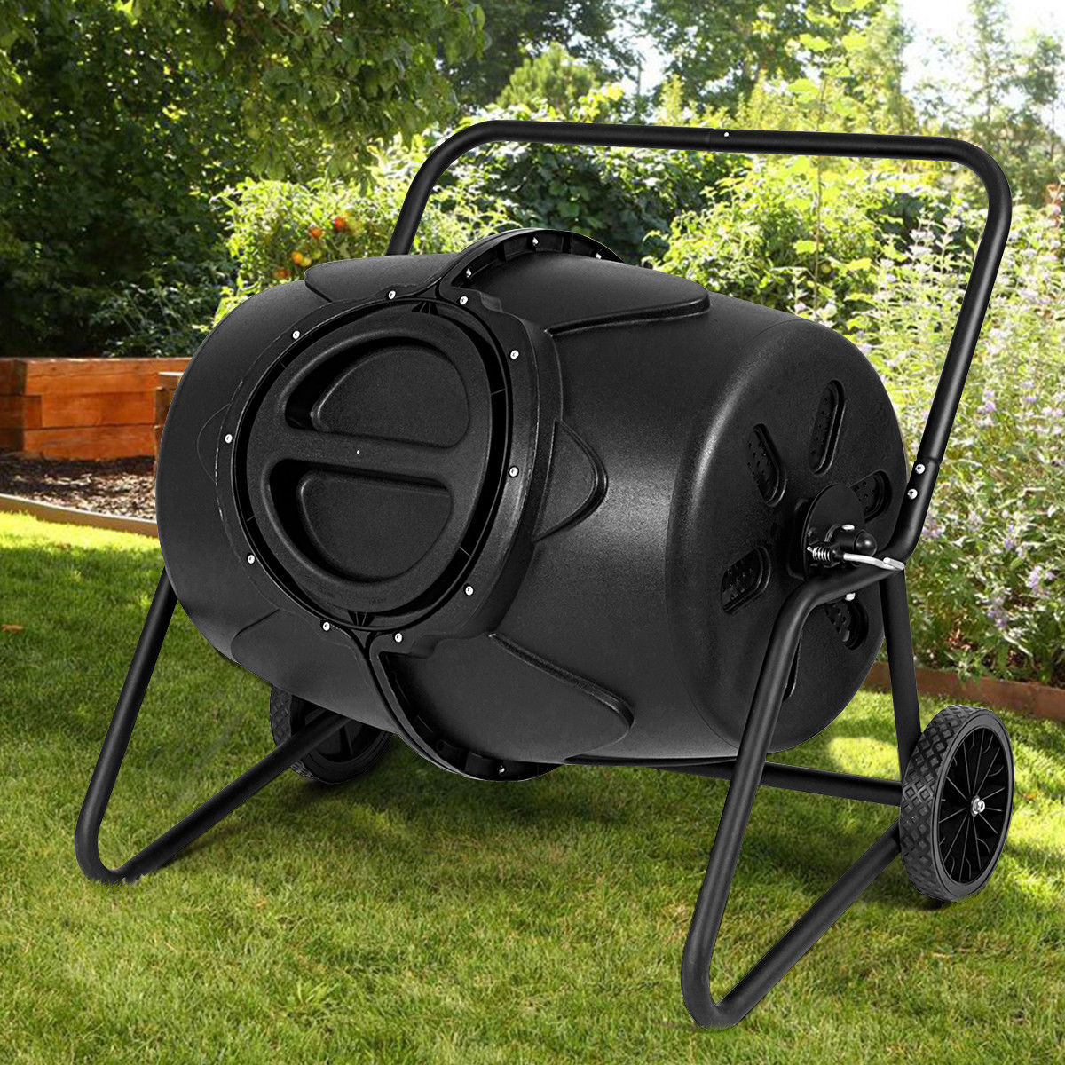 Costway 50 Gallon Wheeled Compost Tumbler Garden Waste Bin Grass Trash Barrel Fertilizer by Costway
