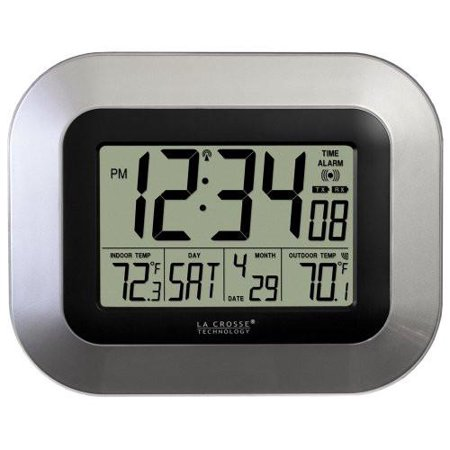 La Crosse Technology WS-8115U-S Digital Wall Clock with Indoor and Outdoor Temperature ()