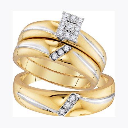 - 10K Yellow Gold 0.21ct Shiny Pave Diamond Fashion Center Rectangle Trio Set Ring