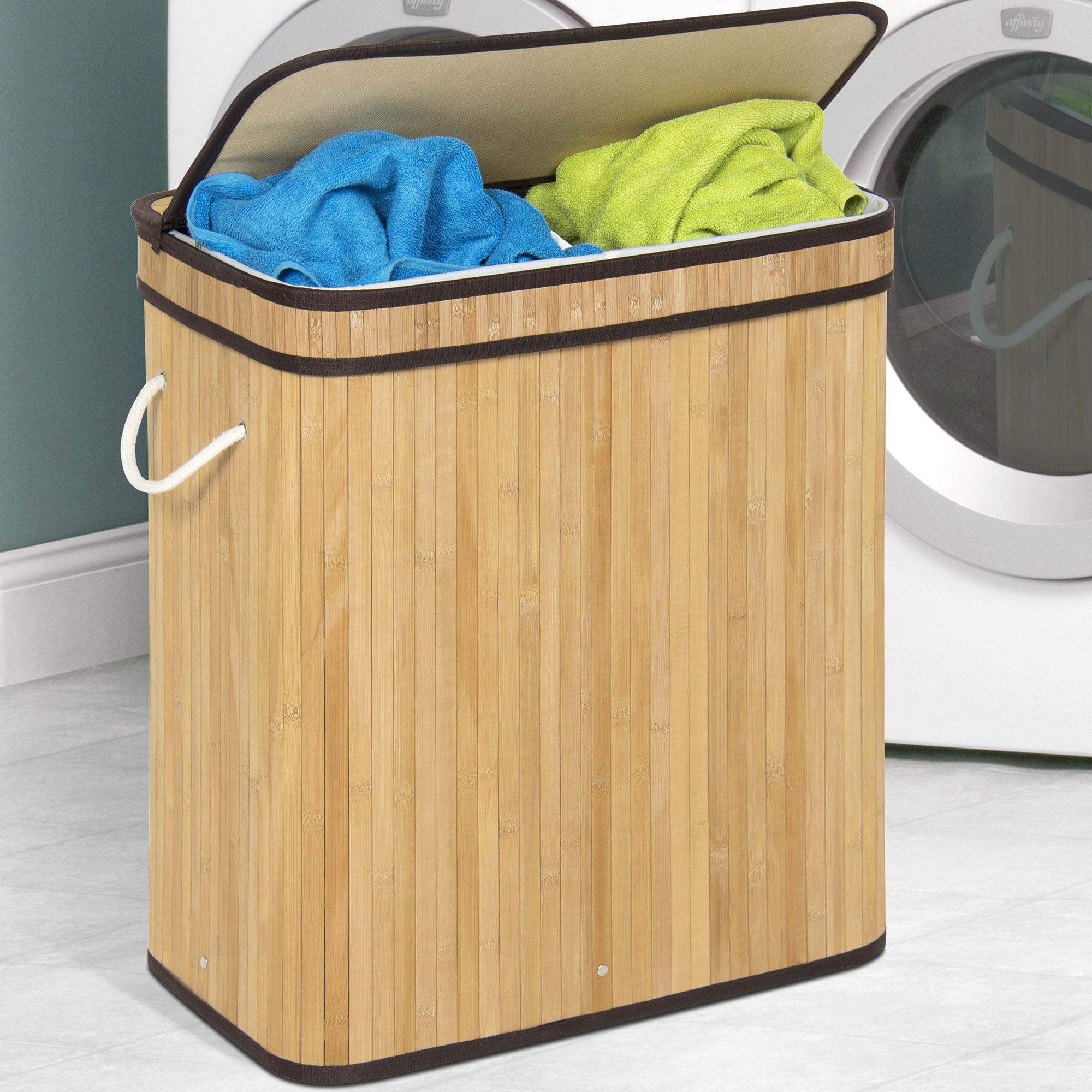 Best Choice Products Foldable Double Section Bamboo Hamper Laundry Basket w/ Removable Liner Bag - Natural