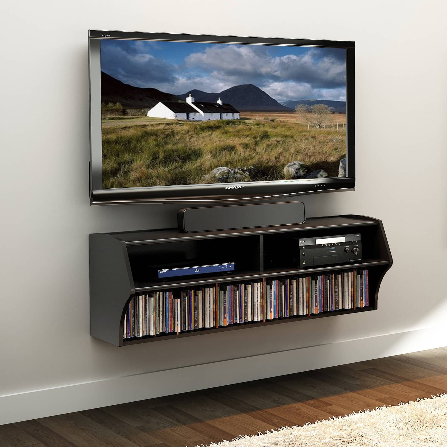 Prepac Altus Wall Mounted A V TV Stand Multiple Finishes