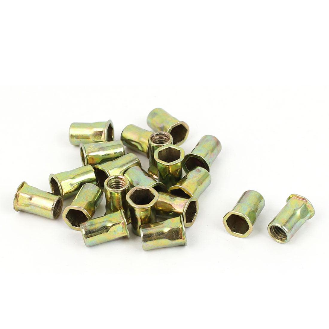 M5 Flat Head Rivet Nut  Insert Nutsert Gold Tone 20pcs