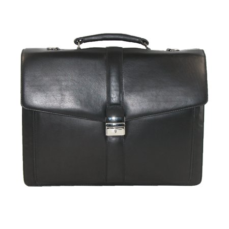 CTM® Mens Leather Laptop Portfolio Briefcase, Black