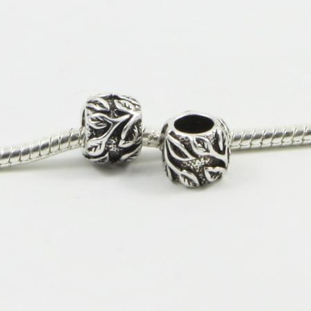 3 Beads - Leaf Leaves Barrel Silver European Bead Charm E0334 - Leaf Beads Charms