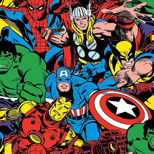 "Marvel Comic Cotton 43"" Fabric, per Yard"