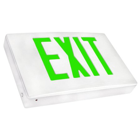 Cast Aluminum LED Exit Sign - Green Lettering, White Housing, White Face