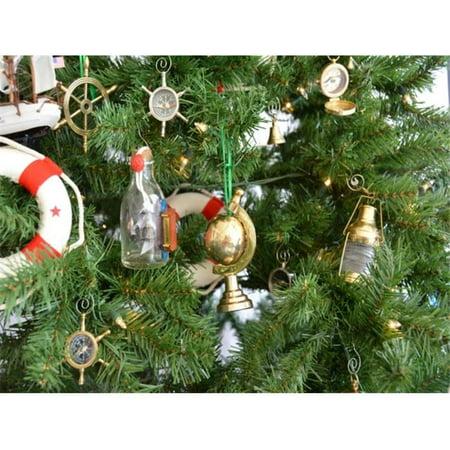 Handcrafted Model Ships Gl 0131 Xmass Brass World Globe Christmas Tree Ornament