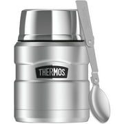 Thermos Stainless Steel Vacuum Insulated King Food Jar With Spoon, 16 oz, Black