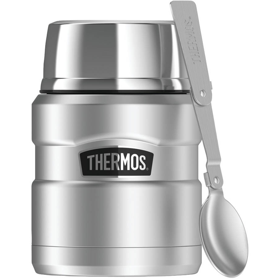 Thermos SK3000STTRI4 Stainless King Vacuum-Insulated Food Jar With Folding Spoon, 16 oz, Silver
