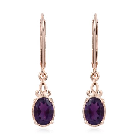 - 925 Sterling Silver 14K Rose Gold Plated Oval Amethyst Dangle Lever Back Earrings Cttw 1