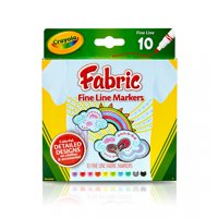 Crayola Fine Line Fabric Markers, Fine Tip, Assorted Colors, 10 Count