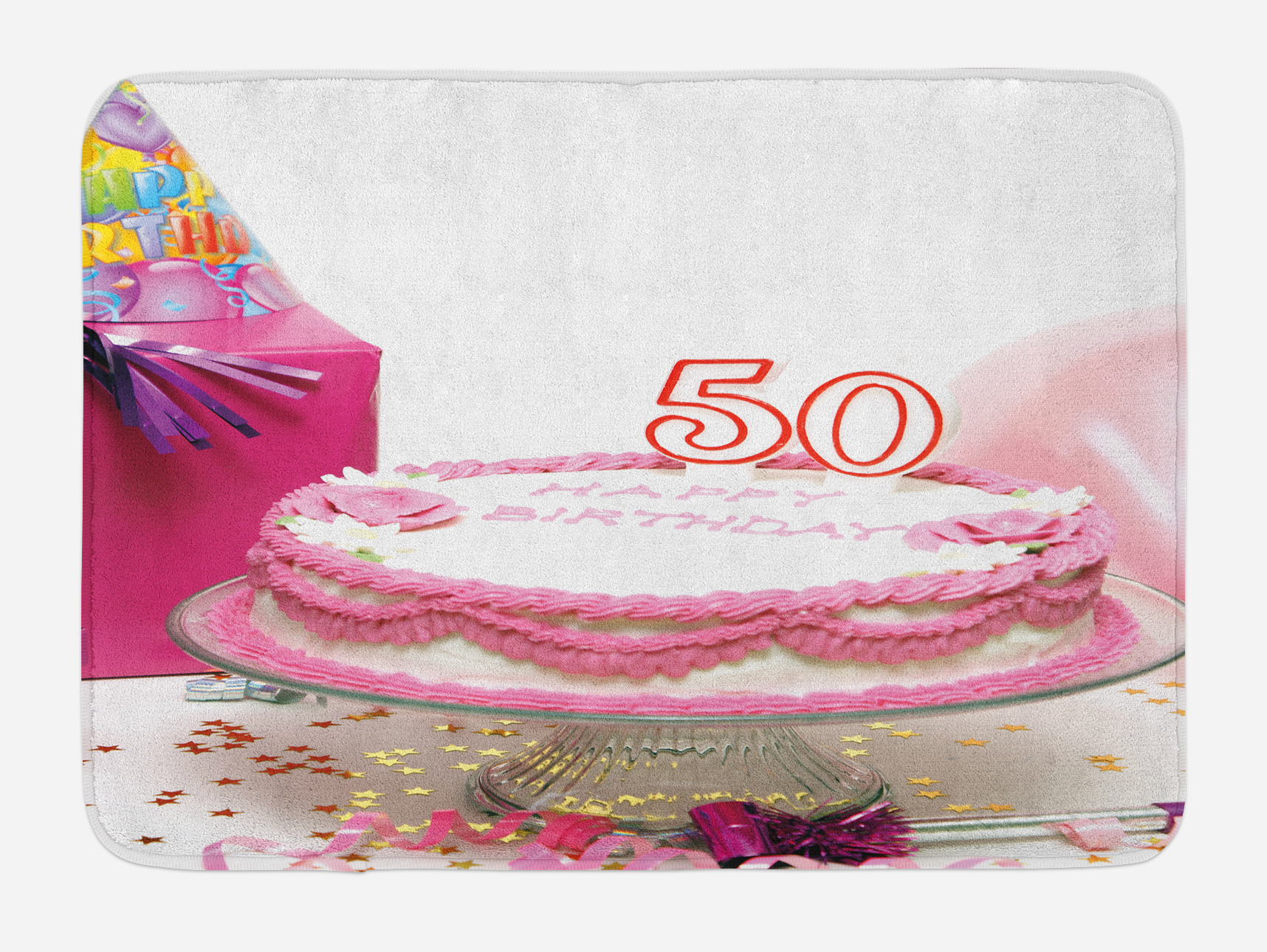 50th Birthday Bath Mat Delicious Cake With Golden Color Stars And Party Hat Presents Special Day Non Slip Plush Bathroom Kitchen Laundry Room Decor