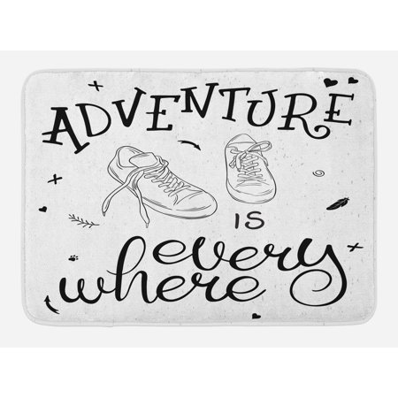 Adventure Bath Mat, Motivational Design Youth Theme with Pair of Sneakers Walking Hiking Wanderlust, Non-Slip Plush Mat Bathroom Kitchen Laundry Room Decor, 29.5 X 17.5 Inches, Black White, Ambesonne ()
