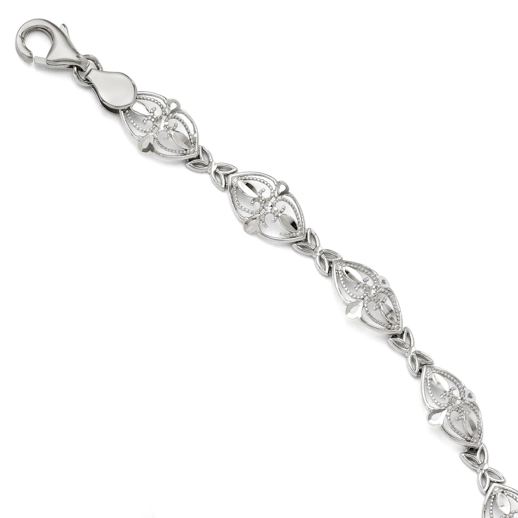 14k White Gold Bracelet 7 Inch Fancy Fine Jewelry Gifts For Women For Her - image 2 of 2