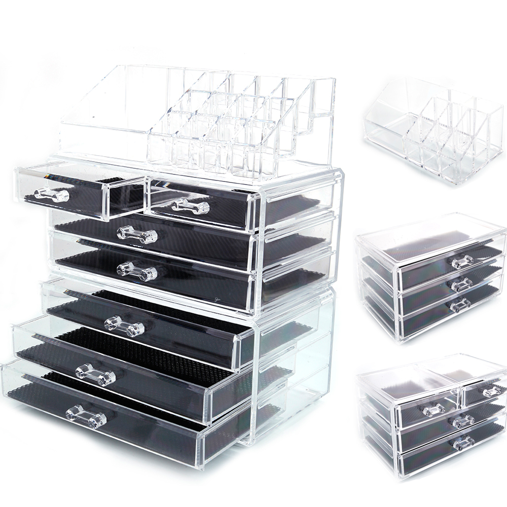 Ktaxon Acrylic Makeup Case Cosmetics Organizer Small & Large Drawer Display Storage Box,7 Drawers,4 Drawers,3 Drawers for your choice
