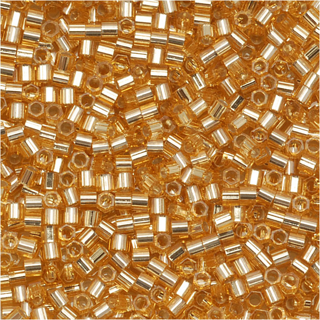 Miyuki Delica Hex Cut Seed Beads 15/0 Silver Lined Gold DBSC042 4 Grams