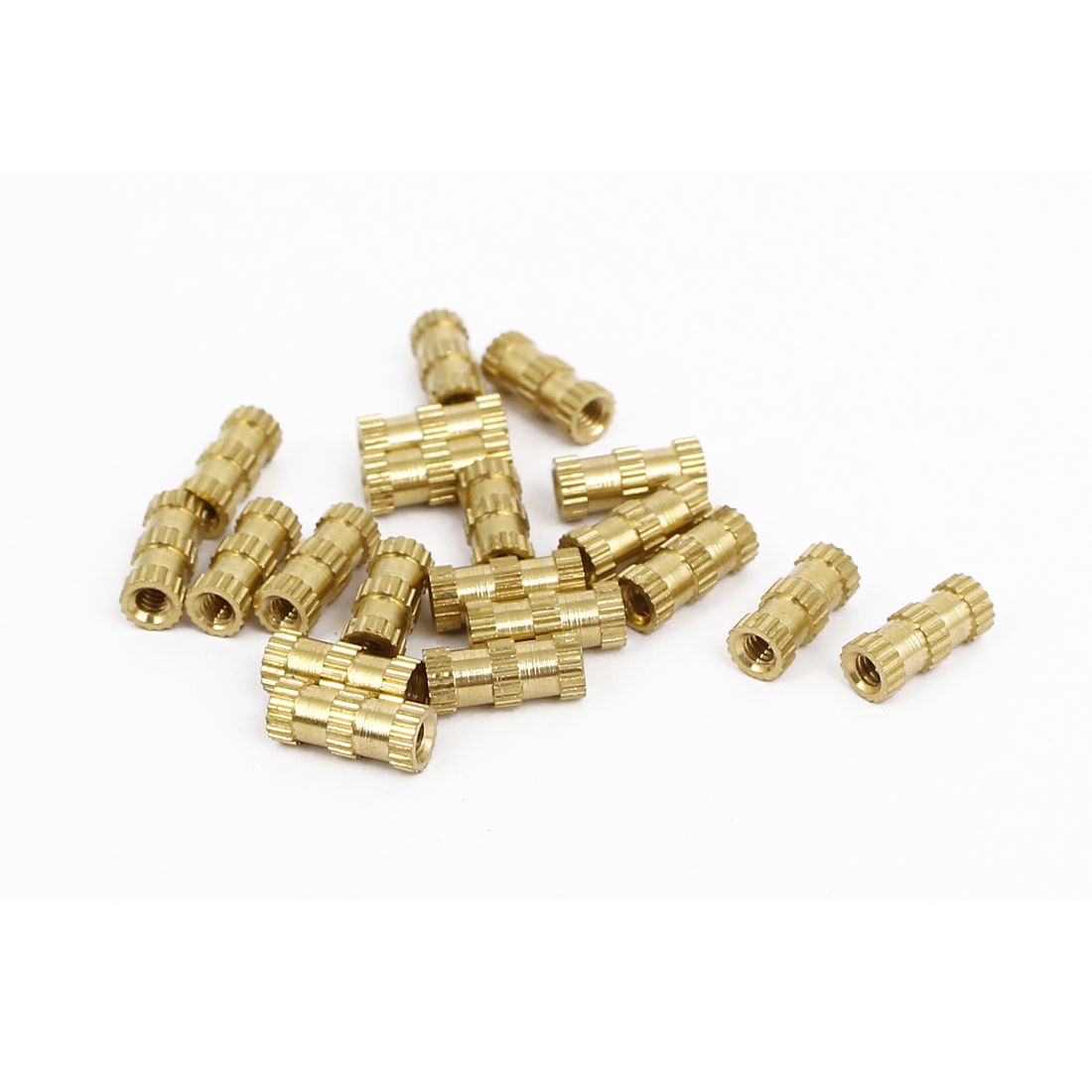 M2x8mmx3.5mm Brass Knurled Threaded Nut Insert Embedded Nuts Gold Tone 20pcs