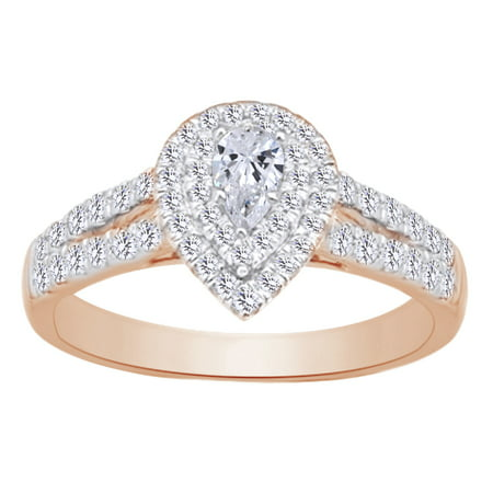 Pear Shape Split Shank Double Halo Engagement Wedding In 14k Rose Gold With 0.62 cttw White Natural Diamond With Ring Size (14k White Gold Ring With 5 Diamonds)