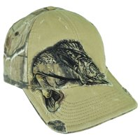 Team Realtree Brand Bass Hunting Fishing Faded Camouflage Distressed Hat Cap