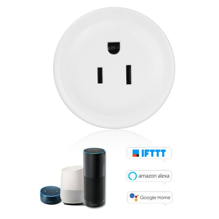 Mini Smart WiFi Socket Remote Control by Smart Phone from Anywhere Timing Function, Voice Control for Amazon Alexa and for Google Home