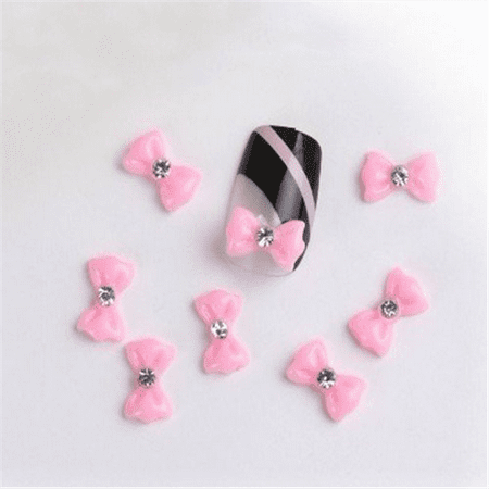 Jovana 100pcs 3D Pink Little Bow Flowers with Rhinestones Nail Art Decoration