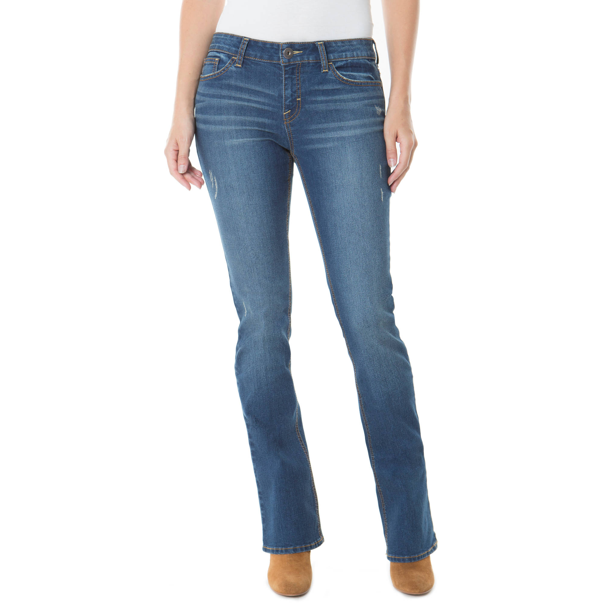 Jordache Women's Mid-Rise Skinny Bootcut Jean, Available in Regular and Petite