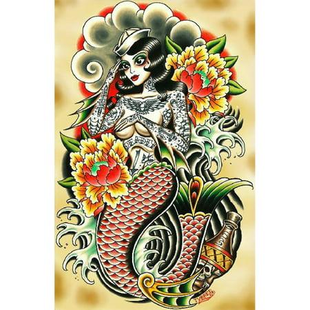 Sailor Made By Tyler Bredeweg Canvas Giclee Traditional Tattoo Tattooed Mermaid