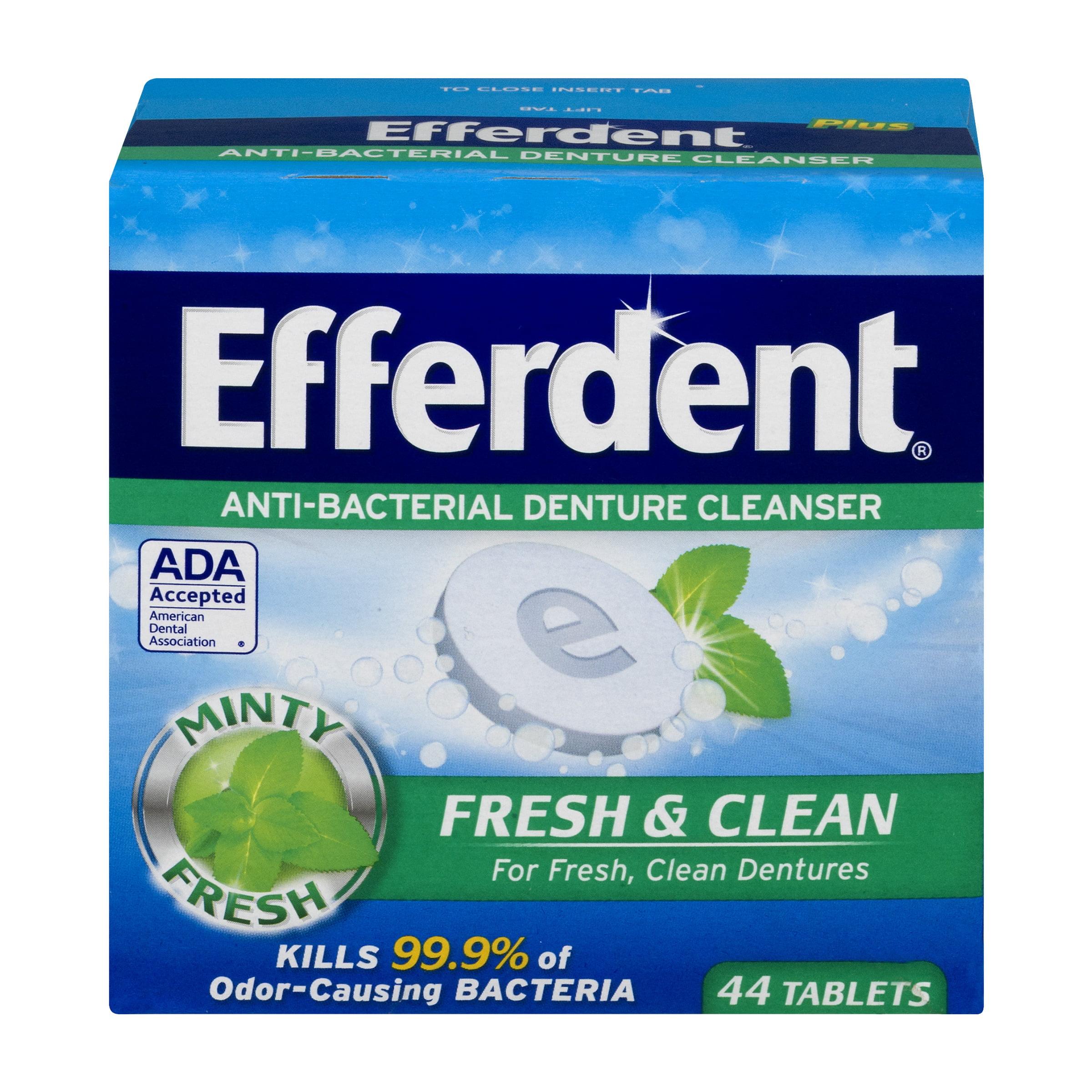 Efferdent Denture Cleanser, Plus Mint, Tablets, 44 Ct