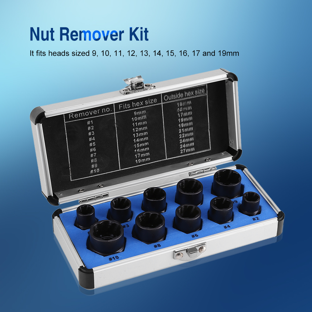 10 Pieces Damaged Bolt Nut Screw Remover Extractor Removal Set Threading Tools Kit,Nut Remover, Nut Removal Kit