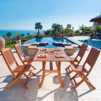 Malibu Outdoor 5-piece Wood Patio Dining Set with Curvy Leg Table & Folding Chairs