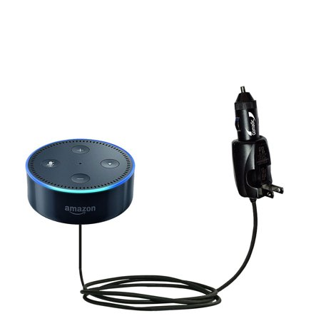 Intelligent Dual Purpose DC Vehicle and AC Home Wall Charger suitable for the Amazon Echo Dot - Two critical functions, one unique charger - Uses