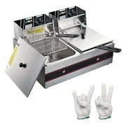12L 5000W Commercial Deep Fryer Stainless Steel Electric Countertop Dual Tank for Restaurant