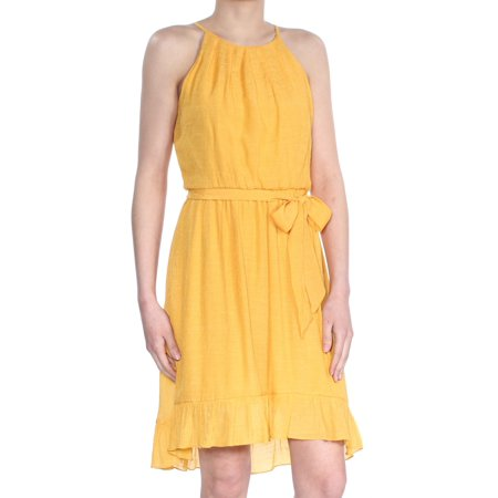 BCX Womens Yellow Sleeveless Halter Above The Knee Fit + Flare Dress  Size: XS