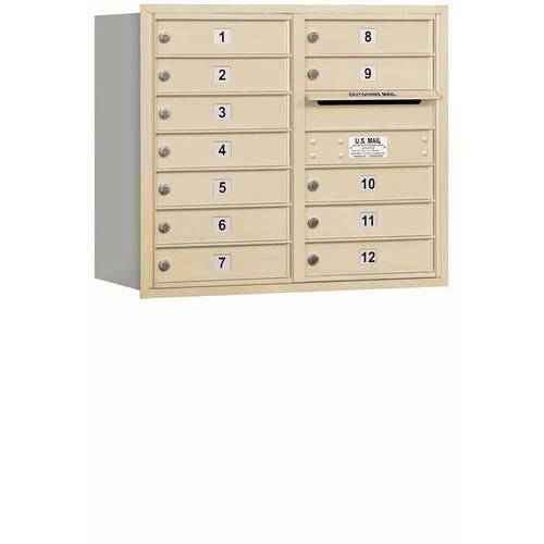 "Salsbury Industries 4C Horizontal Mailbox 7-Door High Unit (27""), Double Column, 12 MB1 Doors, Aluminum, Rear Load, Private Access"