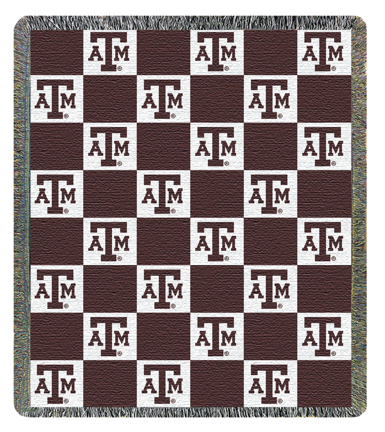 "46"" x 60"" Texas A&M University NCAA Checkered Logo Two-Layer Throw Blanket"