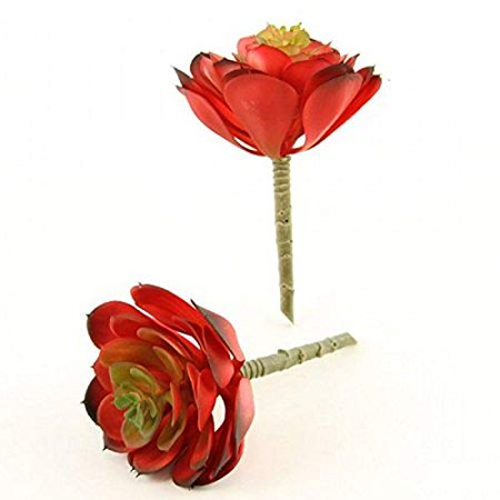 "Shinoda Design Center 4.25""x6.5"" Red Faux Succulent Stem 2pc Set, 2 Piece - image 1 de 1"