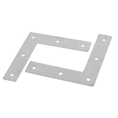 (90mmx18mm Iron L Shaped Right Angle Flat Fixing Plate Corner Brace Bracket 2pcs)